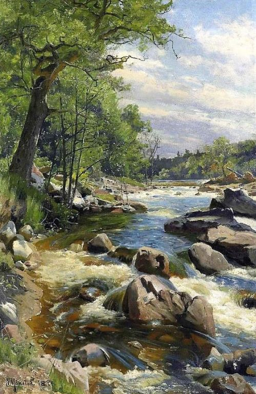 A Fast Flowin River By Peder Mork Monsted, Oil Painting